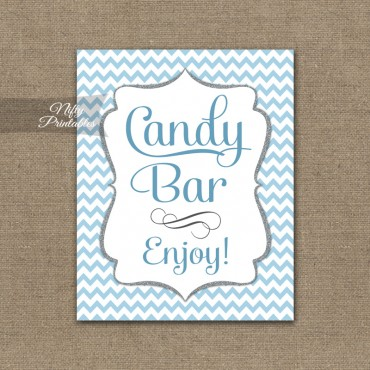 Candy Buffet Sign - Blue Chevron