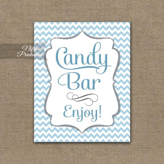 Candy Buffet Sign - Blue Chevron