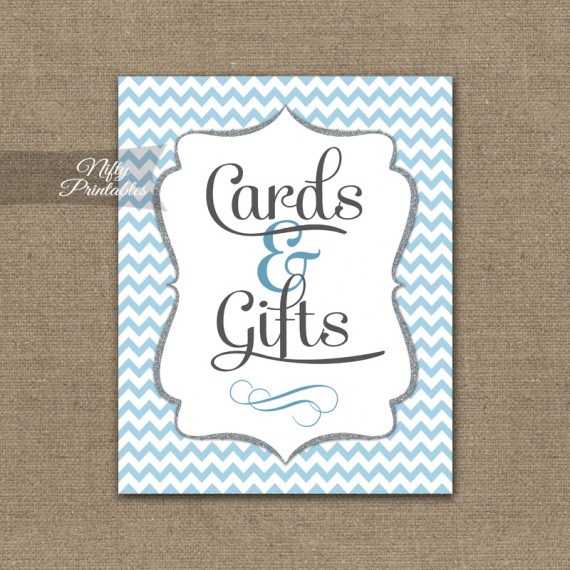 Cards & Gifts Sign - Blue Chevron