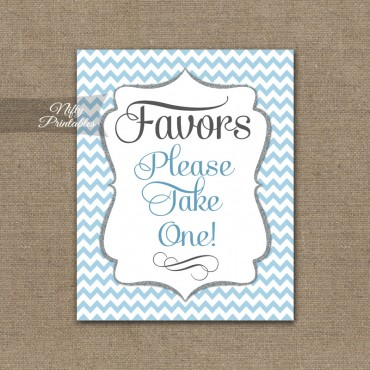 Favors Sign - Blue Chevron