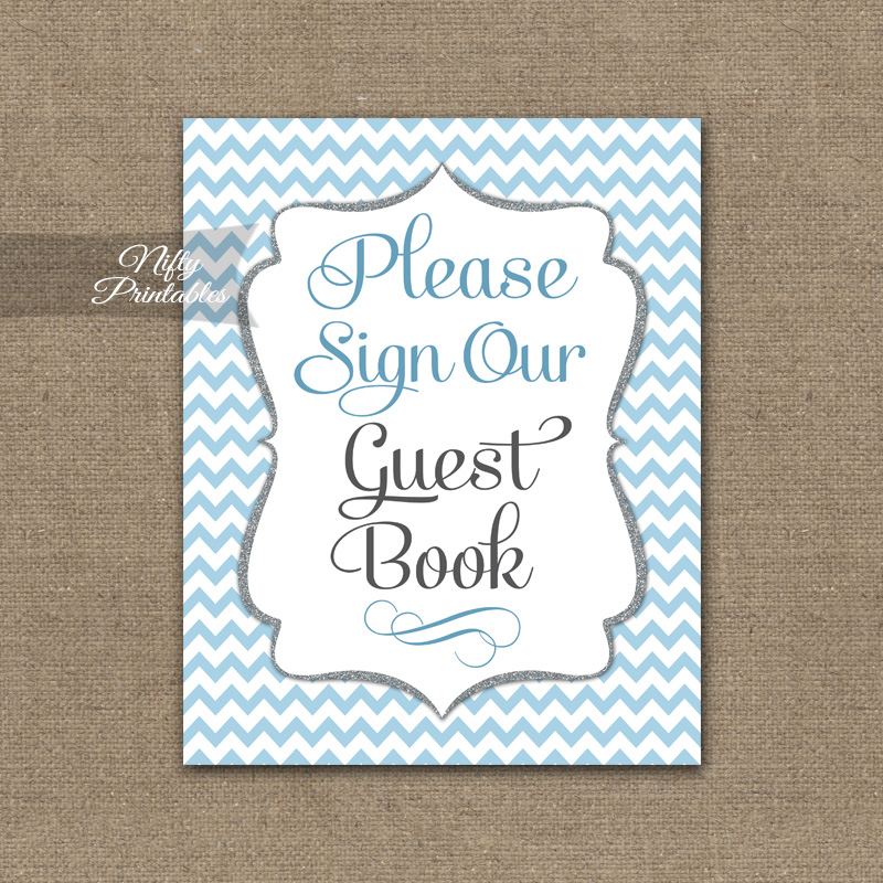 Guest Book Sign - Blue Chevron