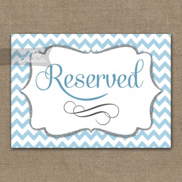 Reserved Sign - Blue Chevron