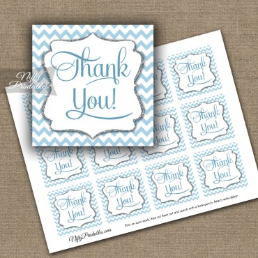 Blue Chevron Thank You Favor Tags SQ