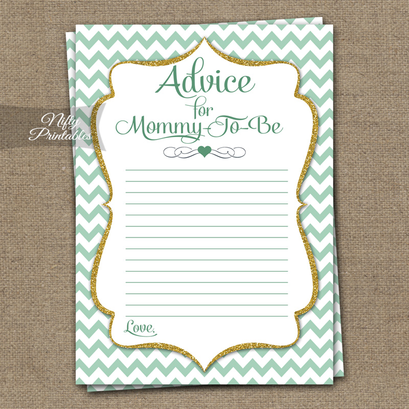 Advice For Mommy Baby Shower Game - Mint Gold Chevron
