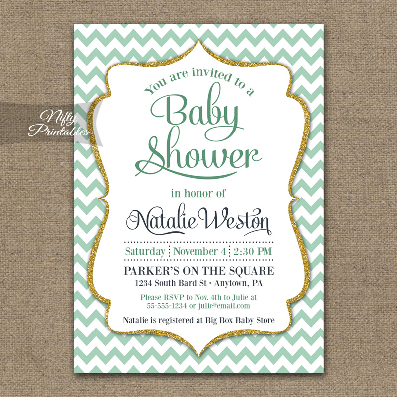Mint Gold Chevron Baby Shower Invitation