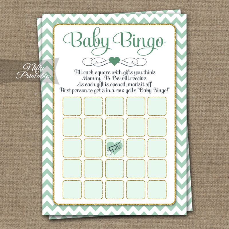 Baby Shower Bingo Game - Mint Gold Chevron