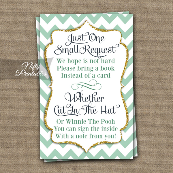 Bring A Book Baby Shower Insert - Mint Gold Chevron