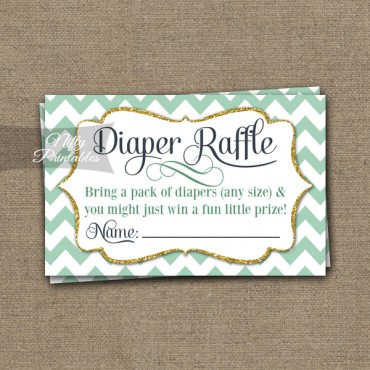 Diaper Raffle Baby Shower - Mint Gold Chevron