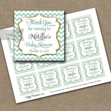 Mint Gold Chevron Personalized Thank You Favor Tags