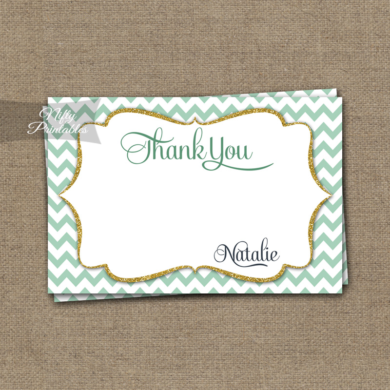 Mint Gold Chevron Birthday Invitation