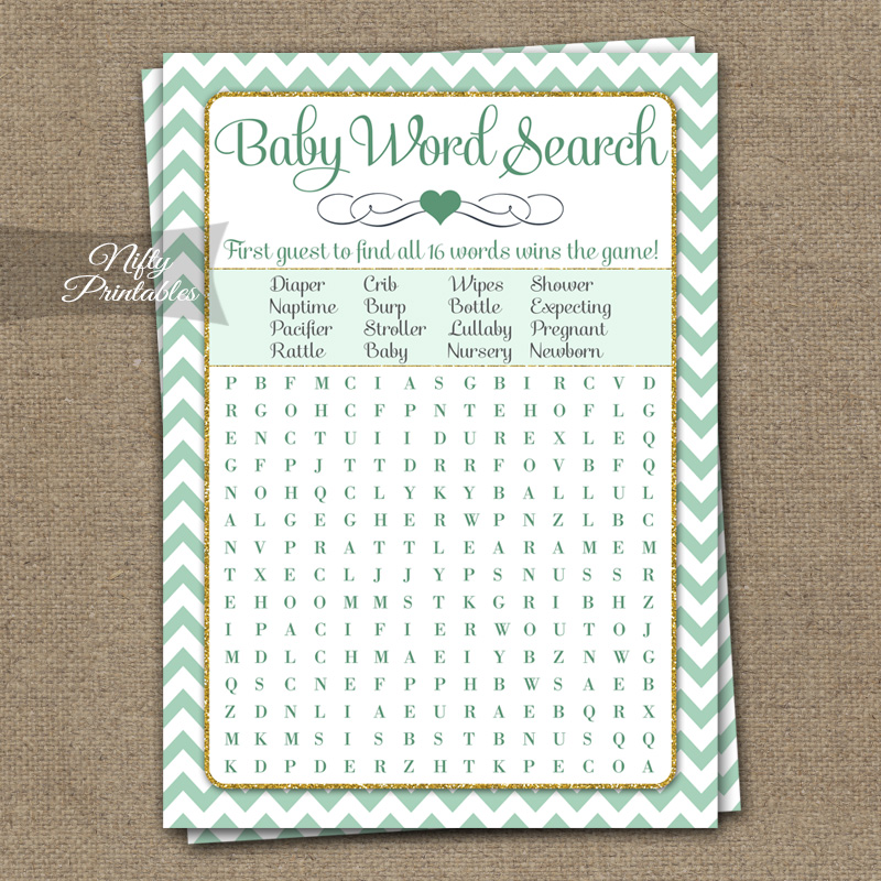 Baby Shower Word Search Game - Mint Gold Chevron