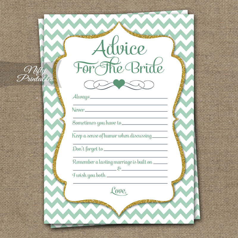 Bridal Shower Advice Cards - Mint Gold Chevron