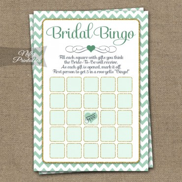 Bridal Shower Bingo Game - Mint Gold Chevron