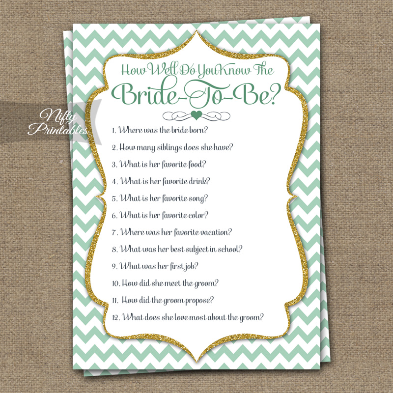 How Well Do You Know The Bride Shower Game - Mint Gold Chevron