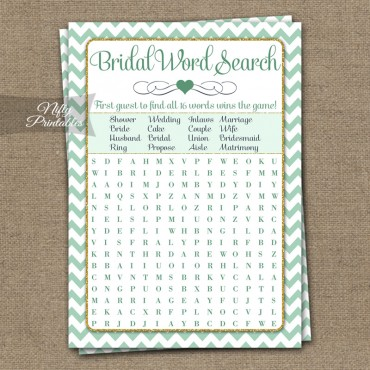 Bridal Shower Word Search Game - Mint Gold Chevron