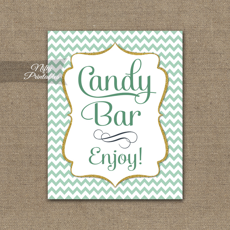 Candy Buffet Sign - Mint Gold Chevron