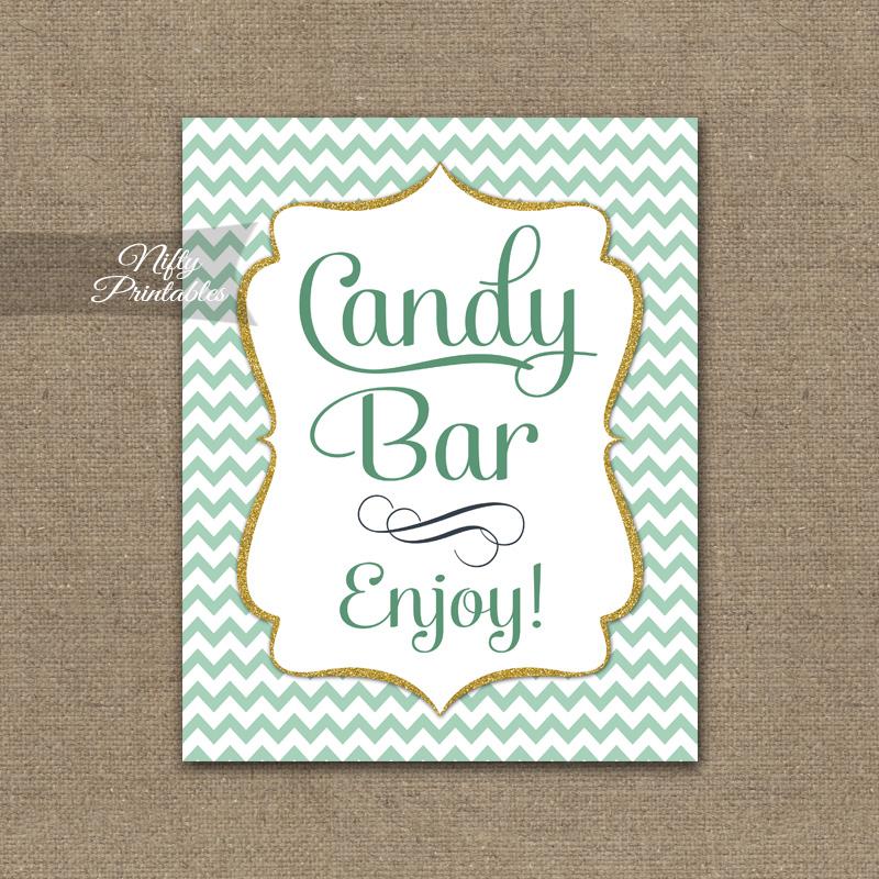Candy Buffet Sign - Mint Gold Chevron