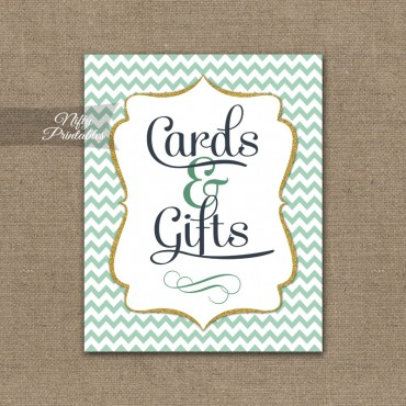 Cards & Gifts Sign - Mint Gold Chevron