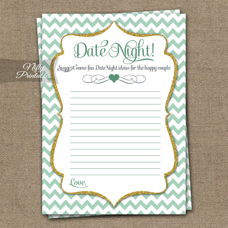 Bridal Shower Date Night Ideas - Mint Gold Chevron