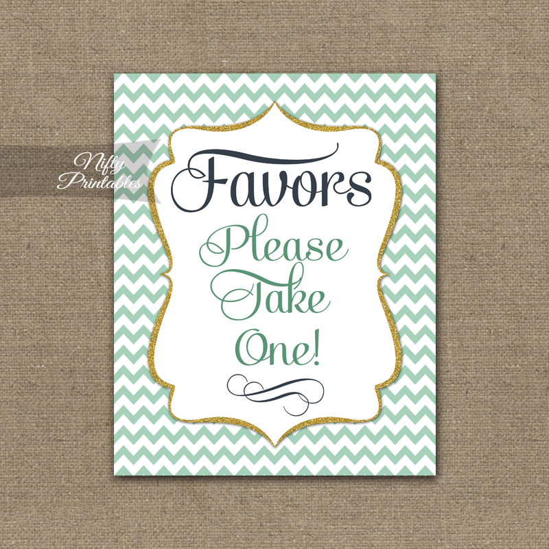 Favors Sign - Mint Gold Chevron
