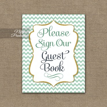 Guest Book Sign - Mint Gold Chevron
