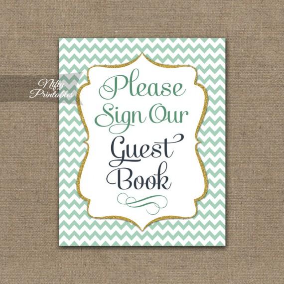 Guest Book Sign - Mint Gold Chevron