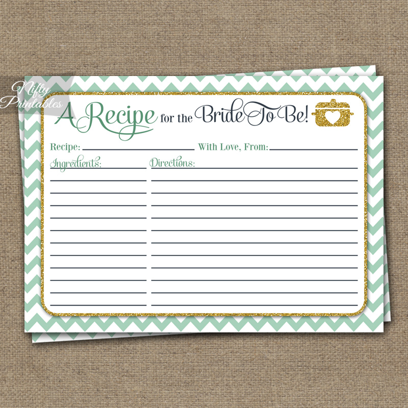 Bridal Shower Recipe Cards - Mint Gold Chevron