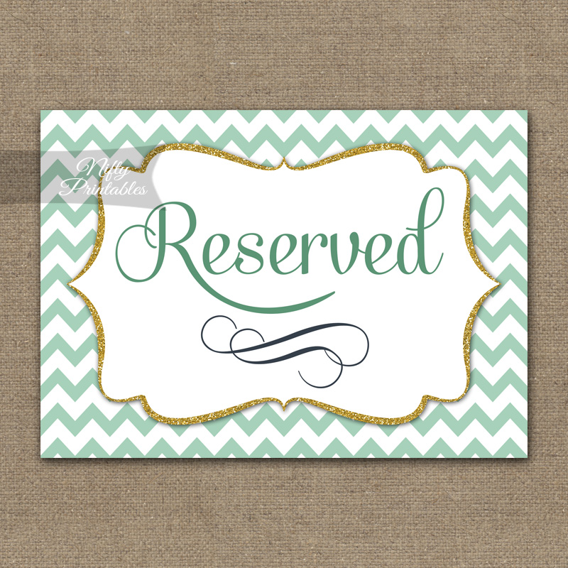 Reserved Sign - Mint Gold Chevron