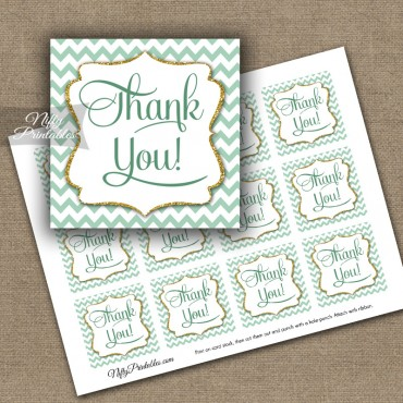 Mint Gold Chevron Thank You Favor Tags SQ