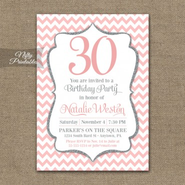 Pink Silver Chevron Birthday Invitation