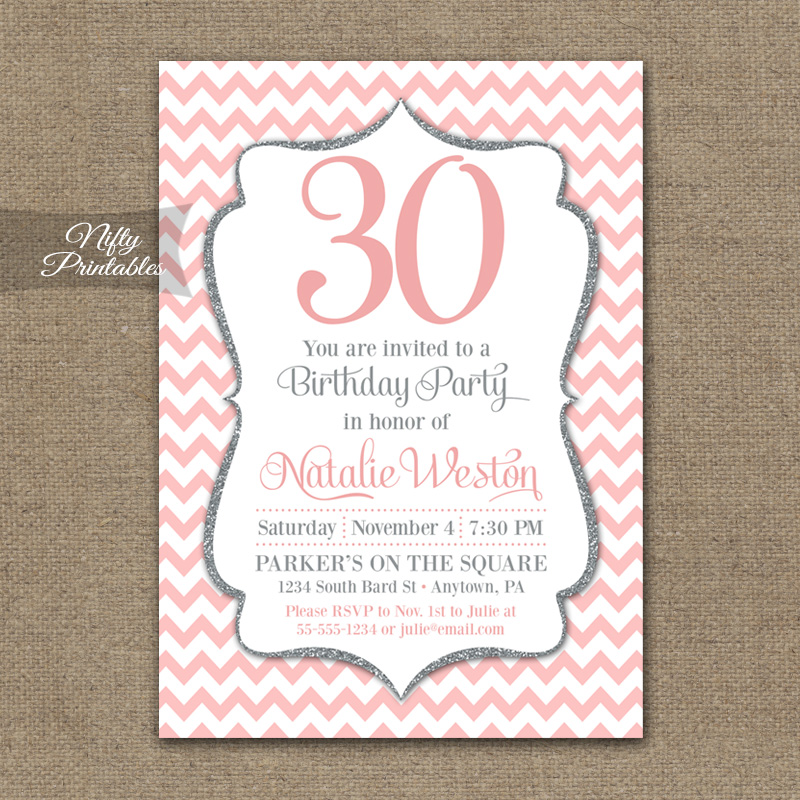 pink silver chevron birthday invitation nifty printables