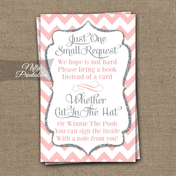 Bring A Book Baby Shower Insert - Pink Silver Chevron