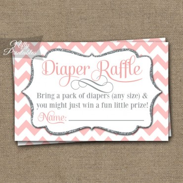 Diaper Raffle Baby Shower - Pink Silver Chevron