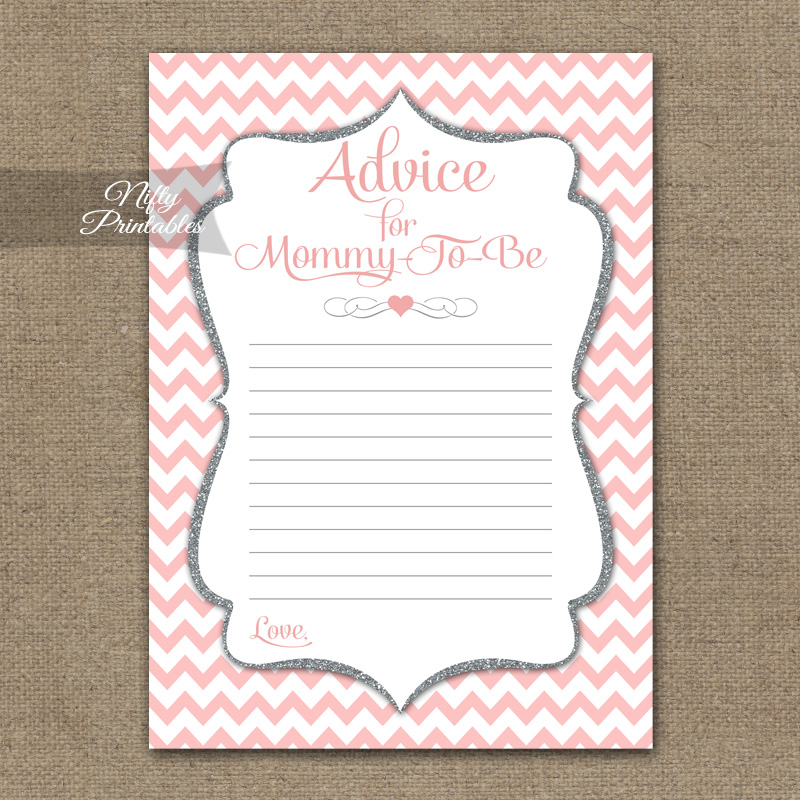 Advice For Mommy Baby Shower Game - Pink Silver Chevron