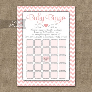 Baby Shower Bingo Game - Pink Silver Chevron