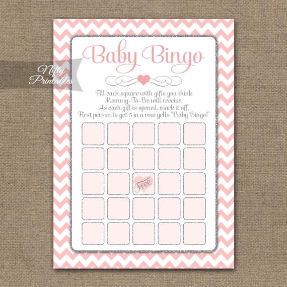 Baby Shower Bingo Game - Pink Silver Chevron