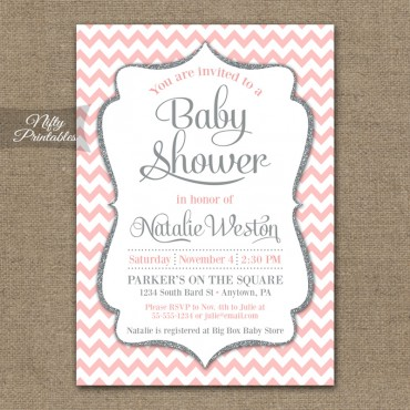 Pink Silver Chevron Baby Shower Invitation