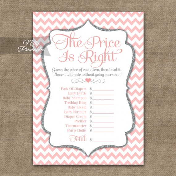 Price Is Right Baby Shower Game - Pink Silver Chevron