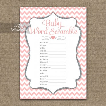 Baby Shower Word Scramble Game - Pink Silver Chevron