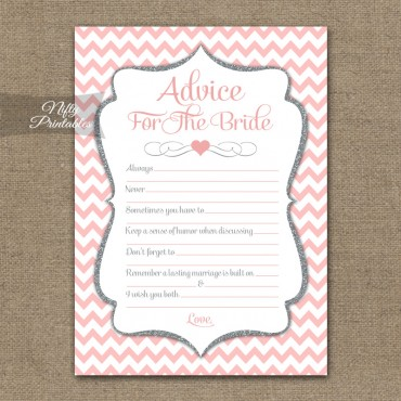Bridal Shower Advice Cards - Pink Silver Chevron