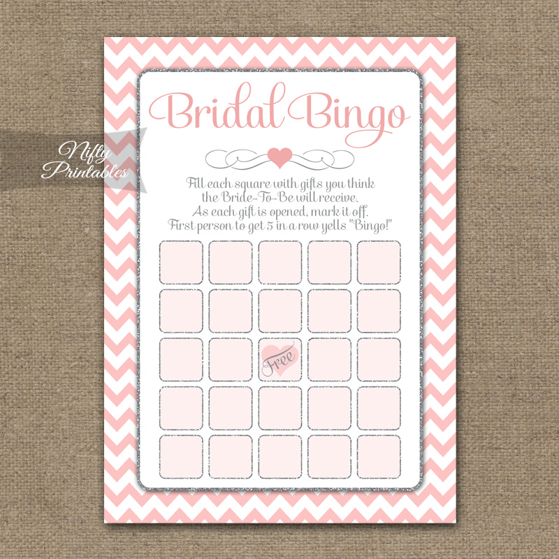 Bridal Shower Bingo Game - Pink Silver Chevron