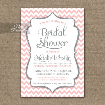 Pink Silver Chevron Bridal Shower Invitation