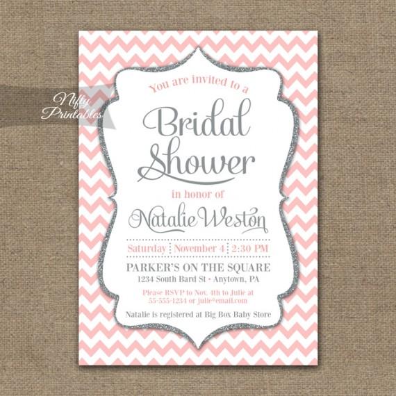 Pink Silver Chevron Bridal Shower Invitation