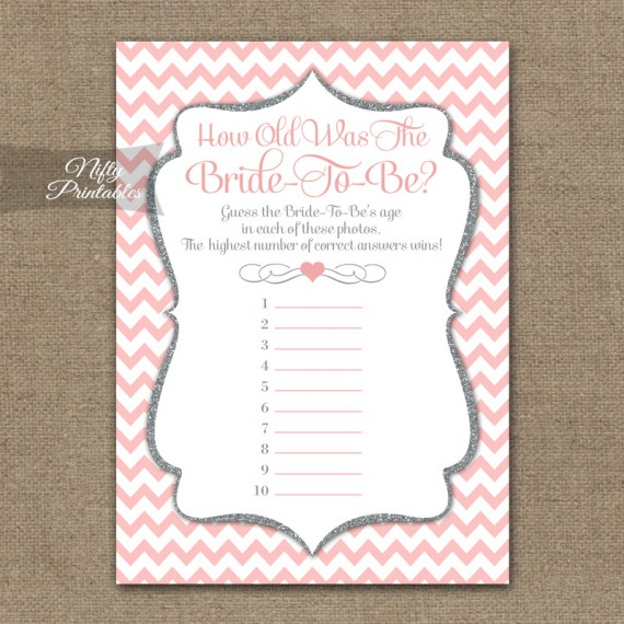 How Old Is The Bride Shower Game - Pink Silver Chevron