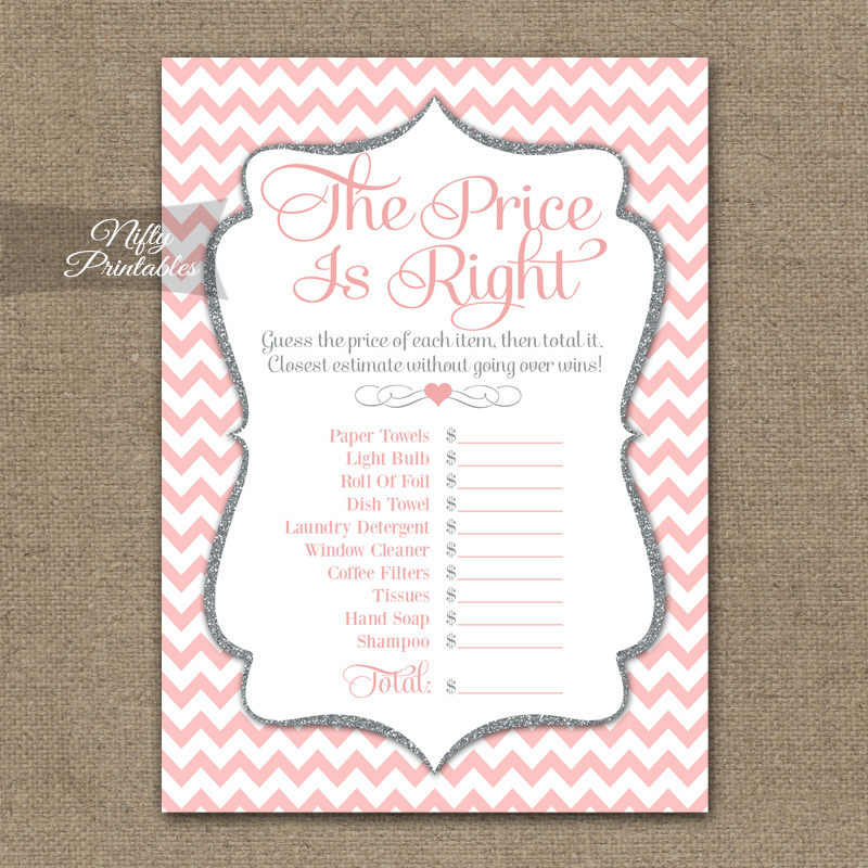 Price Is Right Bridal Shower Game - Pink Silver Chevron
