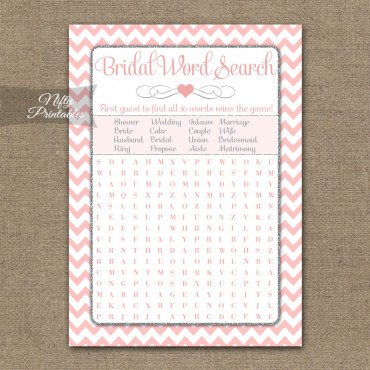 Bridal Shower Word Search Game - Pink Silver Chevron