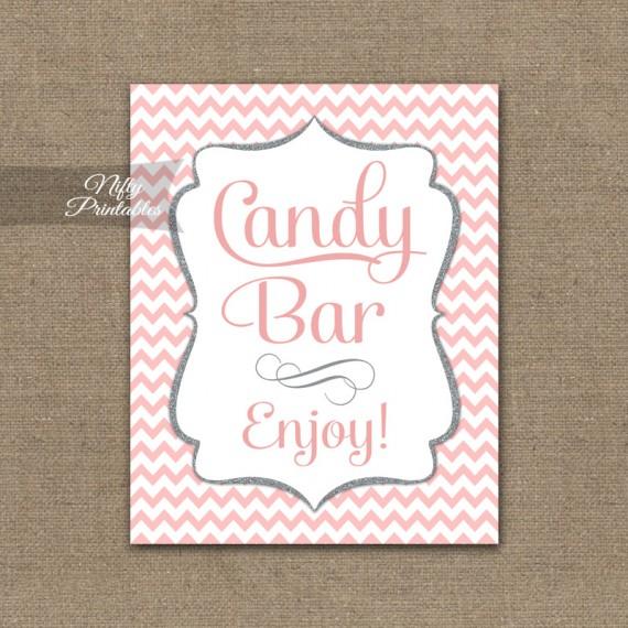 Candy Buffet Sign - Pink Chevron