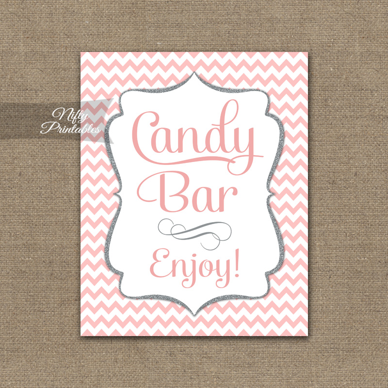 Candy Buffet Sign - Pink Chevron
