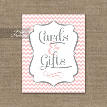 Cards & Gifts Sign - Pink Chevron