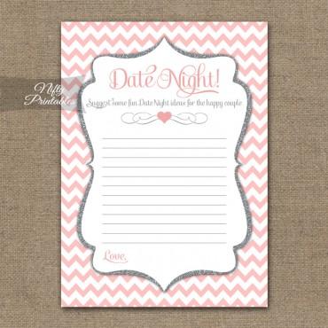 Bridal Shower Date Night Ideas - Pink Silver Chevron